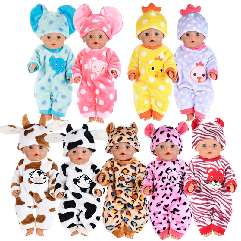 Cute Animal Warm Jumpsuits Clothes+hat Wear For 43cm/17inch Baby  Doll , Children Best  Birthday Gift