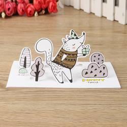 Шт. 1 шт. Винтаж Лес Животные мультфильм 3D поздравительная открытка с конвертом письмо карточки для записок комплект открытка Рождество