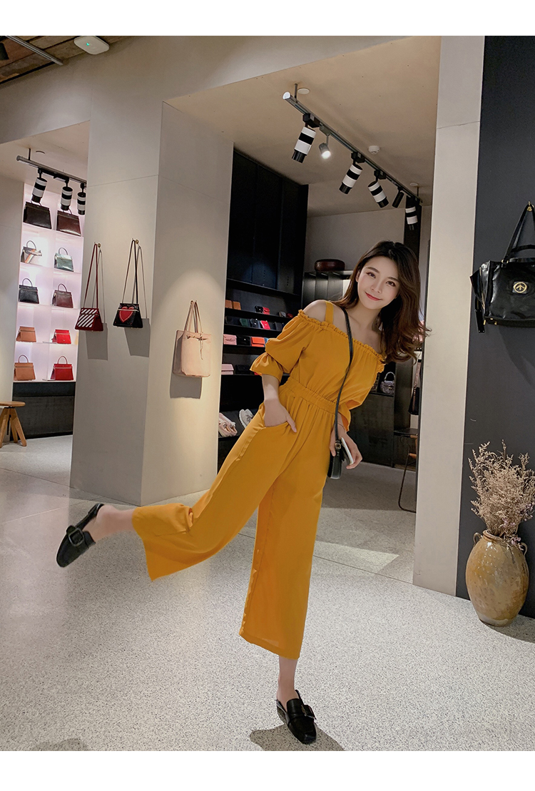 Women's Clothing 2019 Summer New Sexy Bohemian Style Spaghetti Strap Helf Sleeve High Waist Sling Long Beach Wide Leg Jumpsuit 15