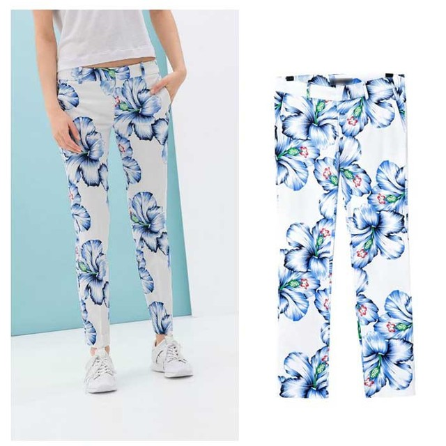 2016 summer new women's pencil pantes flower printed pattern cotton elastic casual trousers EA6252