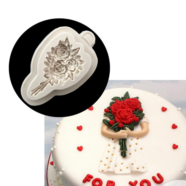 Silicone Cake Mold Rose Bouquet Fondant Wedding Decorating Tools Valentine Gum Paste Cupcake Mould