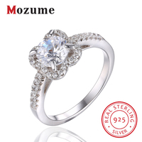 Infinity Round Cut CZ Wedding Rings 925 Sterling Silver Four Leaf Clover Engagement Rings For