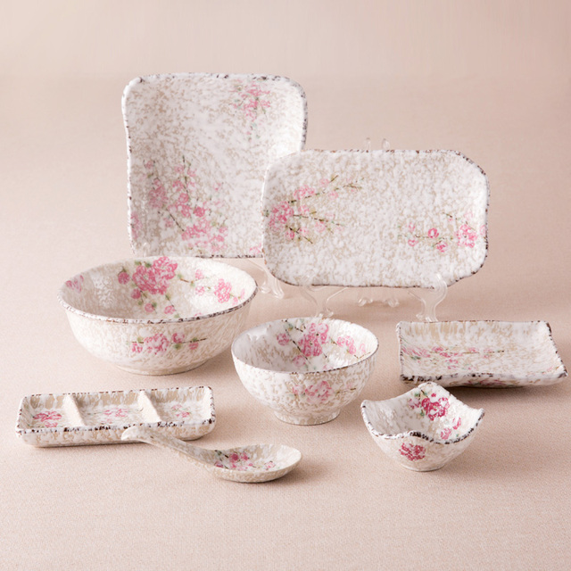 An Z Style Ceramic Dinnerware Sets Small Pink Fl Printed Under Glazed Chinese Porcelain Dinner Set 8 Pieces Tableware