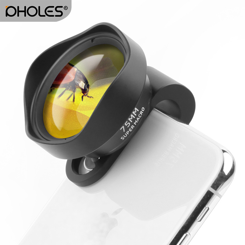 Pholes Mobile Camera Lens 10X Macro Lens Phone 75MM Clip On Lenses for iPhone Xs Max XR X 8 7 Android One Plus Piexl Samsung gadget