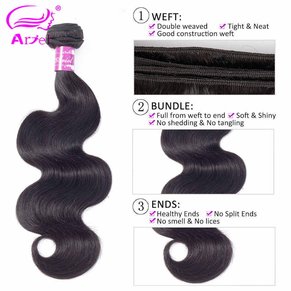 Ариэль бразильские пучки волнистых волос 8-26 дюймов 100% человеческие волосы переплетения пучки двойной уток не Реми Натуральный Цвет наращивание волос