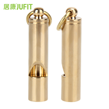 JUFIT 1pcs Gold Solid Brass Emergency Survival Kit Gear Whistle Keychain Aerial For Camping Hiking Survival Safety