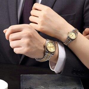 Image 5 - Wlisth 여성 시계 여성 시계 패션 숙녀 톱 브랜드 럭셔리 손목 시계 여성 골든 실버 스틸 방수 빛나는