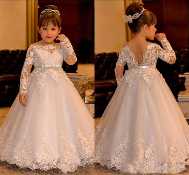White Lace Baby Girl Dresses 2018 Long Sleeve V Backless Tulle Ball Gown Flower Girl Dresses Floor Length Girls Pageant Dress 2018 toddler baby long sleeve dress baby girl clothing flower infant girl dresses spring lace princess party prom tulle dresses
