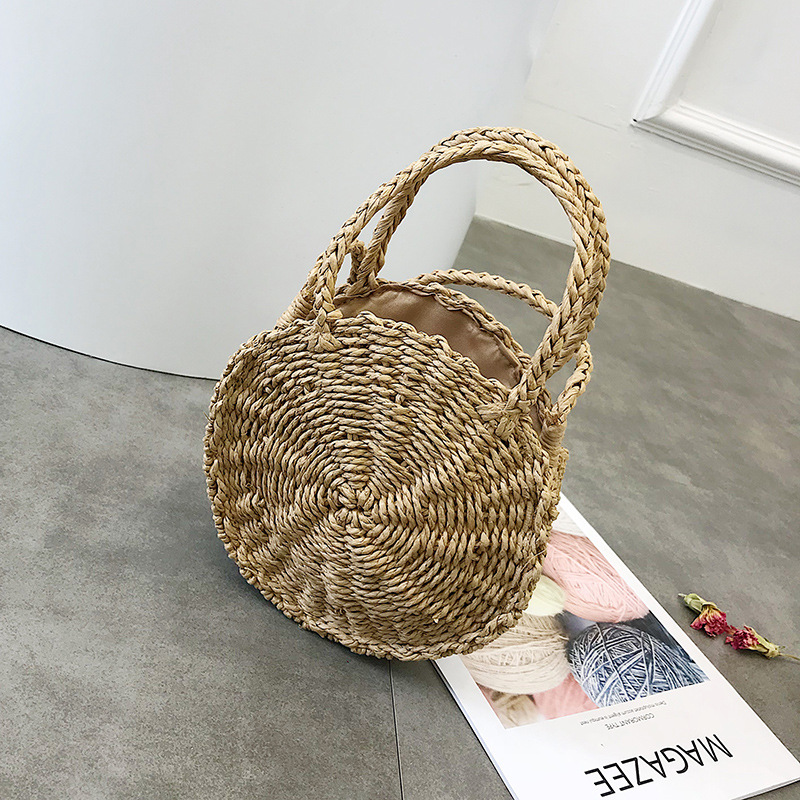 2018 Women Hand Bali Island Woven Bag buckle Rattan Straw Bag Women Shoulder Bag Female Satchel Wind Bohemia Beach Circle Zipper