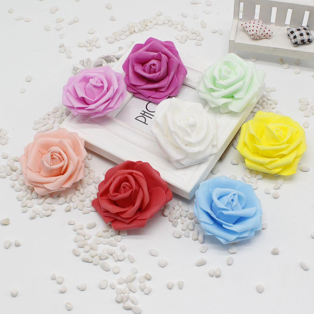Hecho a mano 100 unids/lote rosas de espuma espuma pe rosa artificial cabeza de