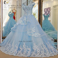 Vestido de Noiva Princesa Luxo Vintage Light Blue Wedding Dresses 2017 Lace Wedding Gowns Ball Gown Flower Plus Size Bride Dress