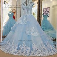 Vestido de Noiva Princesa Luxo Vintage Light Blue Wedding Dresses 2017 Lace Wedding Gowns Ball Gown Flower Plus Size Bride Dress