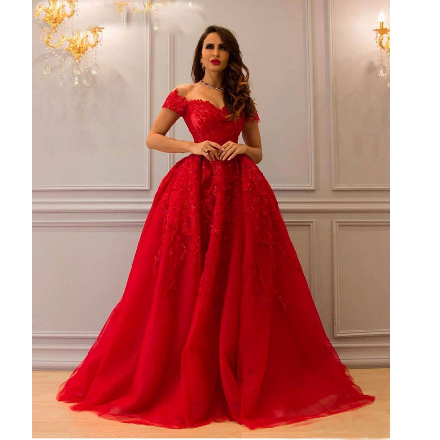 Sexy Off Shoulder Red Long Evening Dresses Ruched Ball Gown Sequins Lace Arabic Formal Gowns Dubai Robe De Soiree Longo