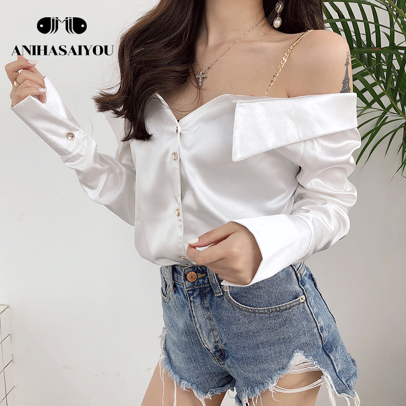 Fashion camisa feminina temperament sexy shirt strapless strap satin long sleeve Top one shoulder Blouse loose solid color