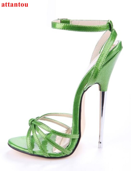 woman sandals 2017 summer new fashion 16cm red green high heels metal thin heel peep toe large size female party show shoes цена и фото