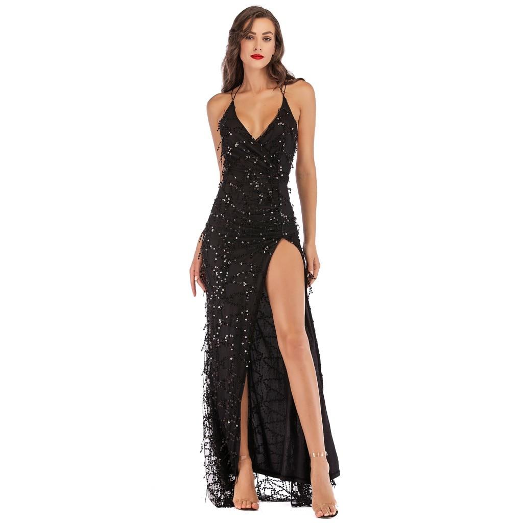Detail Feedback Questions about Clothing Women Sexy Dress Deep V neck  Sequined Halter Sleeveless long dress culb Dresses Nightclub Club slpit  Glamorous ... bb311b602bec