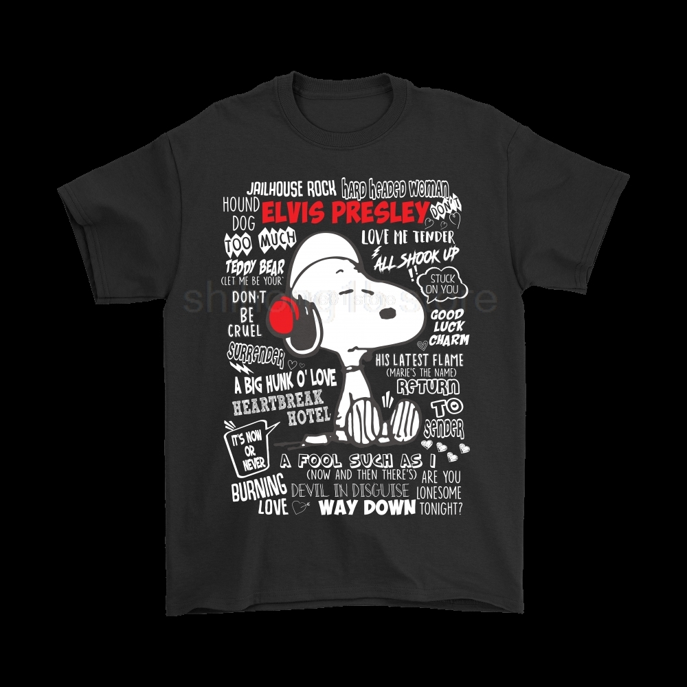 Listen To Elvis Presley Songs PEANUTS T-Shirts 2019 Summer Men's Short Sleeve T-Shirt image