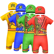 Купить с кэшбэком Ninjago Costume Cosplay Boys Swimming Costume For Kids Fancy Party Dress Up Ninja Swimsuit Cosplay Superhero Swimming Suit Cap