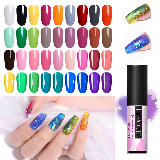 LILYCUTE 5ml Glaze Glass Nail Gel 175 colors