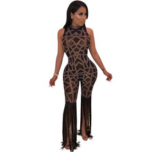 Sexy Night Club Party Jumpsuit Women Black Sheer Mesh Fringe Tassel Playsuit Glitter Rhinestone Sparkly Jumpsuit and Rompers fringe detail striped glitter mesh top