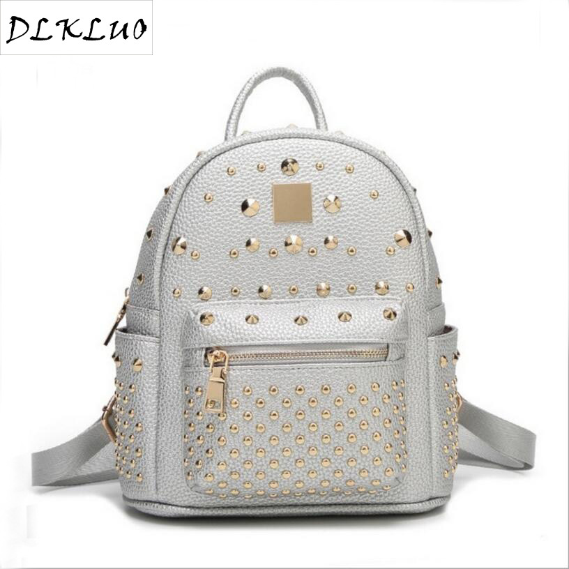 ФОТО Rivet bag backpack in the spring of 2017 the new leather backpack fashion student travel bag one generation