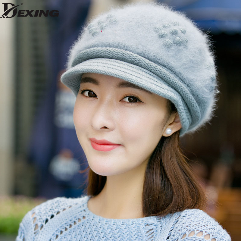 fashion real wool autumn and winter rabbit fur hat knitted warm Beanies winter outdoor Sports Cap for women rabbit hair lady autumn winter new weaving small pineapple fur hat in winter to keep warm very nice and warm comfortable