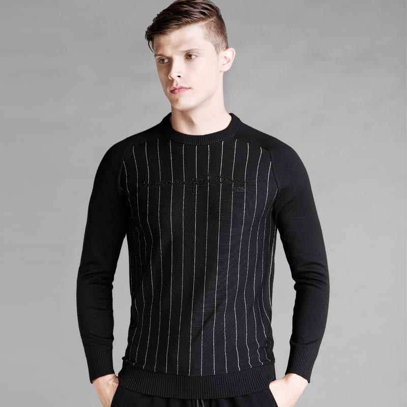 Mens pullover sweaters 2017 new brand social cotton thin casual crocheted striped knitted sweater men black stripe sweaters men