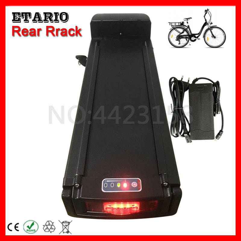 EU US No Tax 24V 36V 48V 10AH 13AH 15AH 18AH 20AH Rear Rack Lithium E-Bike Battery Pack with Taillight+Double Layer Luggage Rack