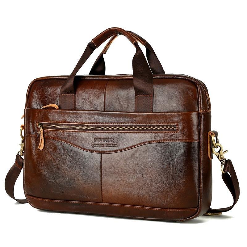 GUMST Multifunctional Men Shoulder Diagonal Bag Business Briefcase Cow Leather Mens Fashion 14 Inch Bags