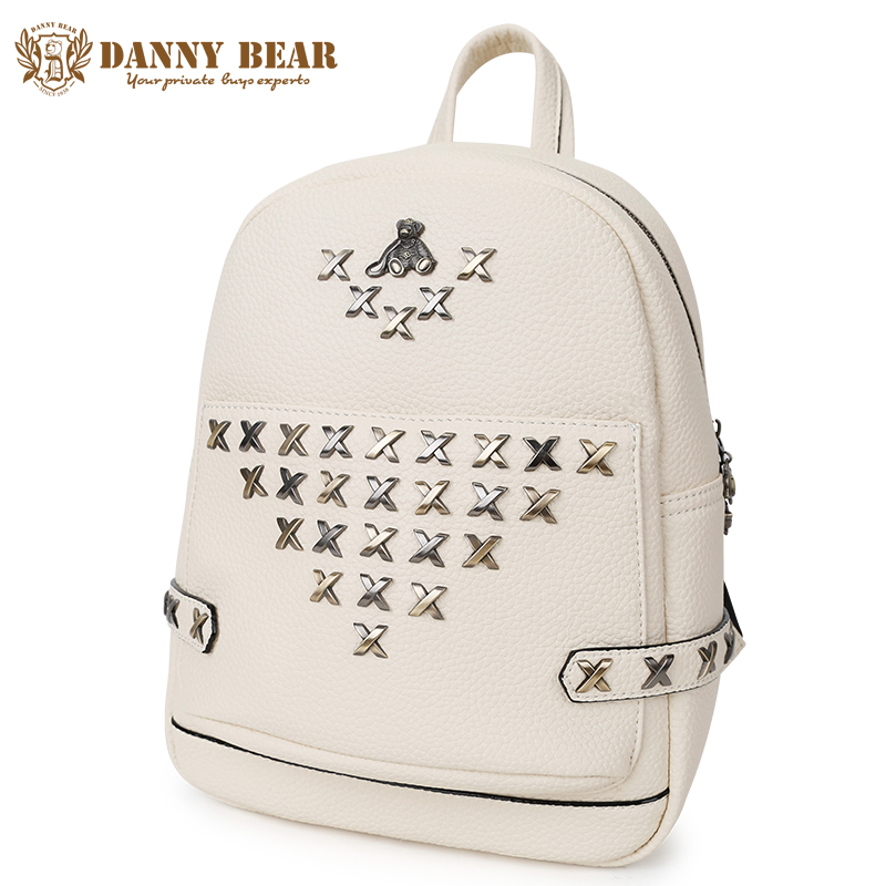 DANNY BEAR Women Leather Backpacks Teenager Girl Leather Pu School Backpack Large Causal Shoulder Bags Students Back Bag Daypack embroidery pu leather backpack women large capacity back pack travel portable shoulder bags girl school bag fashion backpacks