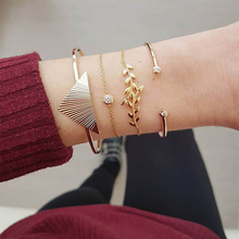 цена Fashion Crystal Golden Charm Bracelets Set Woman Hollow Leaves Geometry Chain Adjustable Cuff Bracelet Female Party Jewelry Gift онлайн в 2017 году