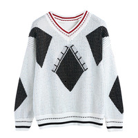 2019 Spring V neck Rivets Beading Shiny Sweater Women Loose Knitted Pullover Streetwear Women's Tops Pull Femme TS7157