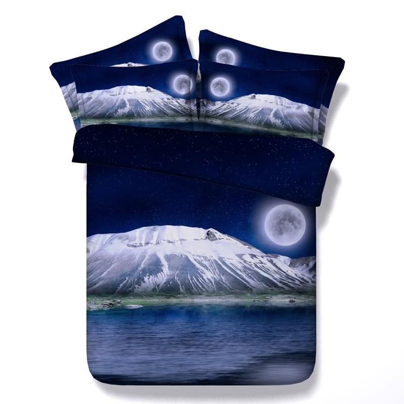 3D Луна и звезды Постельные Принадлежности Комплекты Queen Размер море пододеяльник простыни Спрэд белье покрывало одеяло Калифорния Король П