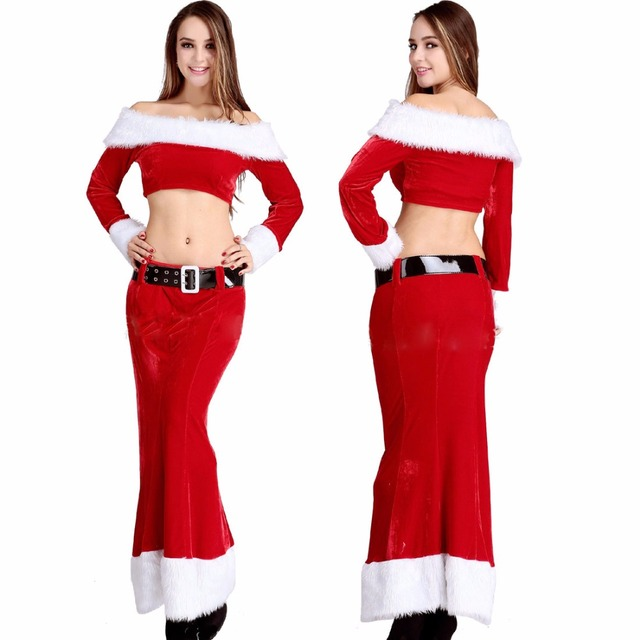santa claus costume adults women christmas dress off shoulder maxi dress warm winter flannel dress sexy