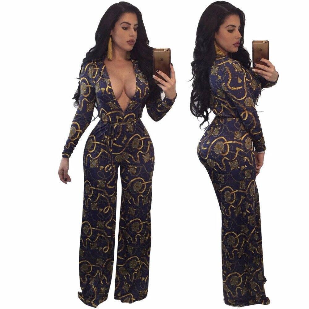 Plus size Fashion Women Print Jumpsuit Sexy Deep V-neck