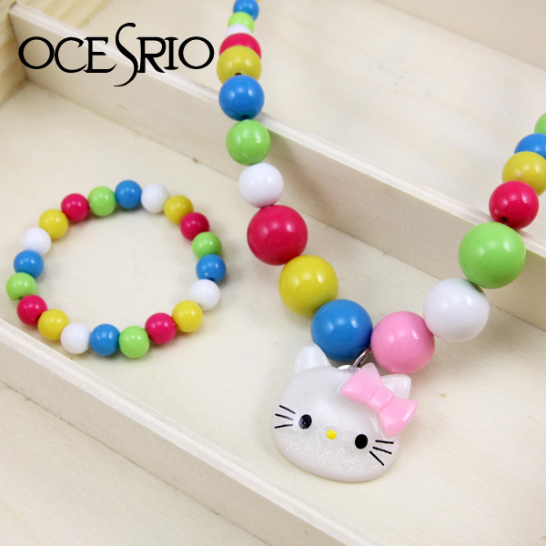 Pink Hello Kitty jewelry Kids Children Necklace jewelry jewellery se ts best Christmas gifts nke-g82