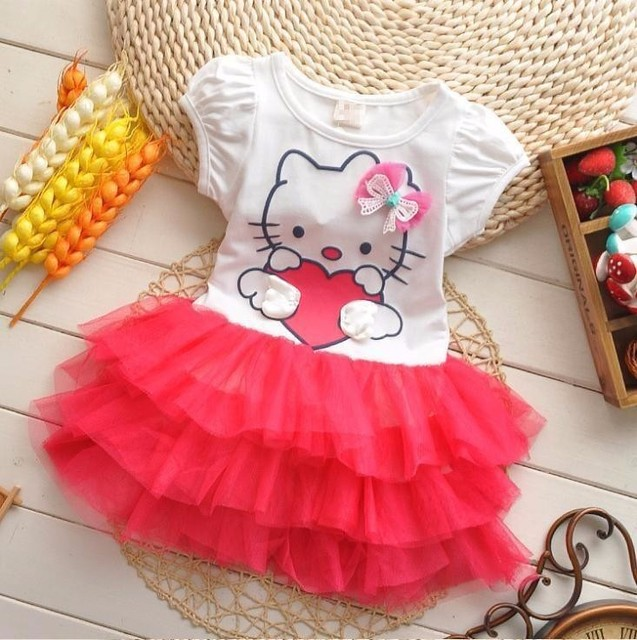 a13e9b705 New 2017 Short Sleeve Hello Kitty Tutu Cartoon Clothes Cotton Tshirt  Birthday Dress for Baby Girl