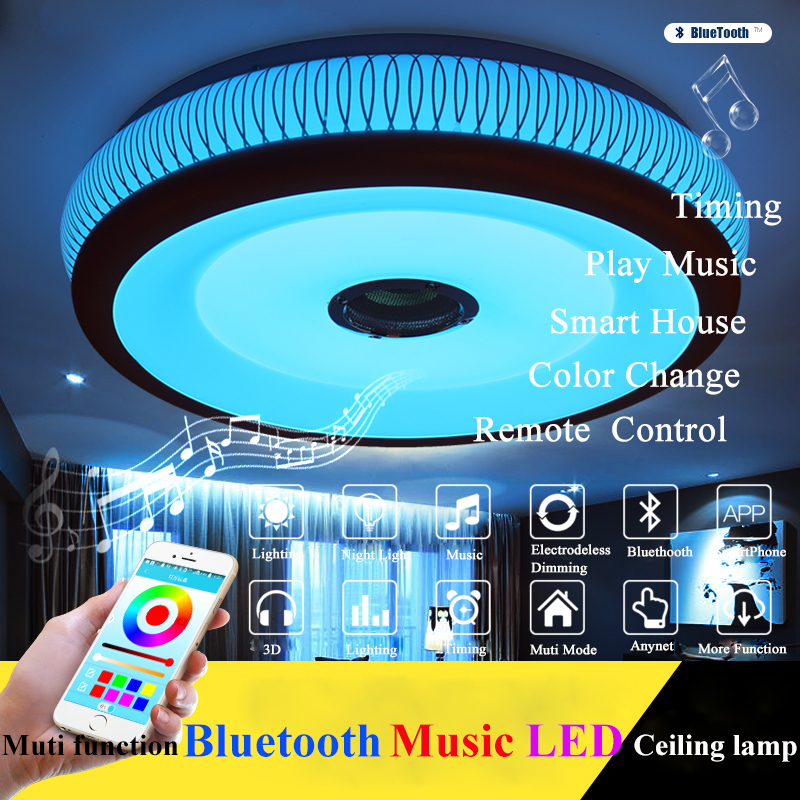 RGB Intelligent Modern chandelier 36W LED Lamps dimmable with Bluetooth & Music smart chandeliers for 15 -30 Square meters
