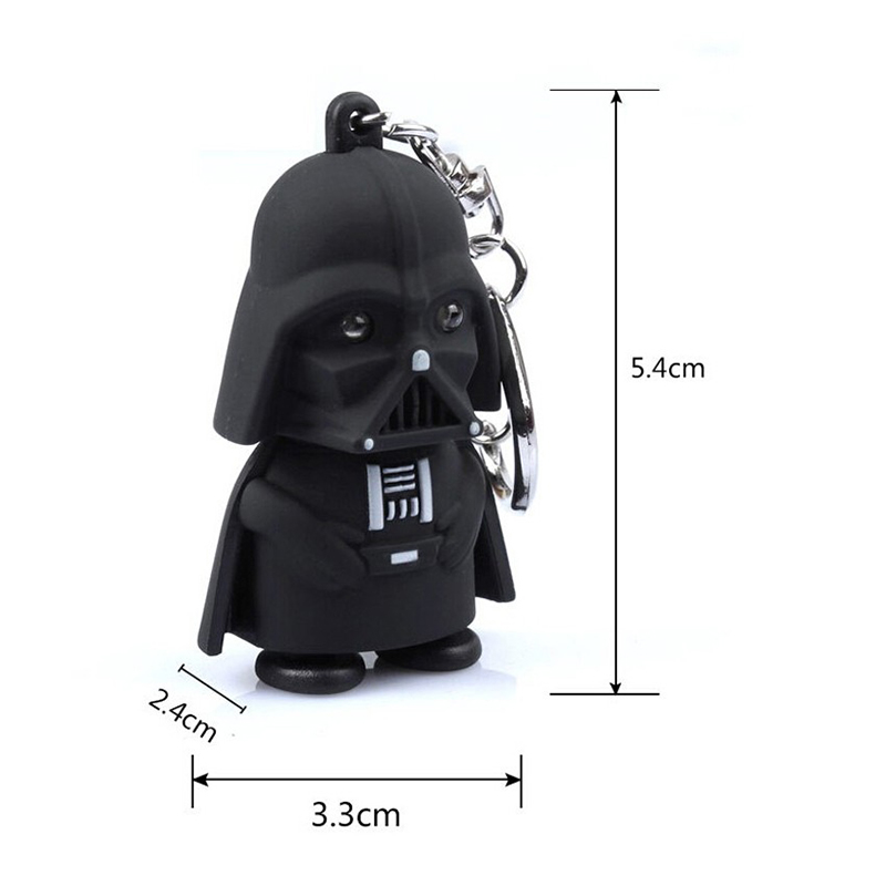 Children s toy 6 3cm Super hero movie character Darth Vader LED Light Flash Vocal Keychain