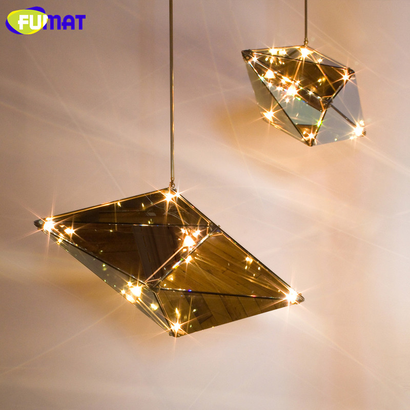 FUMAT Art Diamond Shape Glass Pendant Light Nordic Diamond Light Living Room Dining Room Pendant Lighting Exhibition Hotel lamp fashion genuine real cowhide leather bucket women handbag shoulder designer purse cross body satchel hobo messenger lady bag