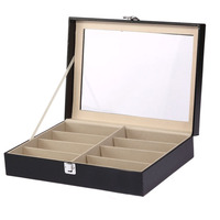 Wood&PU Leather 8 Sunglass Watch Display Box Case Organizer Black For Women Girls Display Case Jewerly Box Eyeglasses Holder
