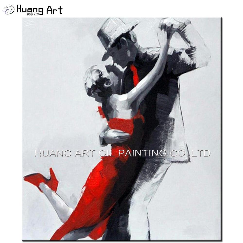 Ručně malované moderní tanečnice na olejomalbě na plátně pro dekorace v obývacím pokoji