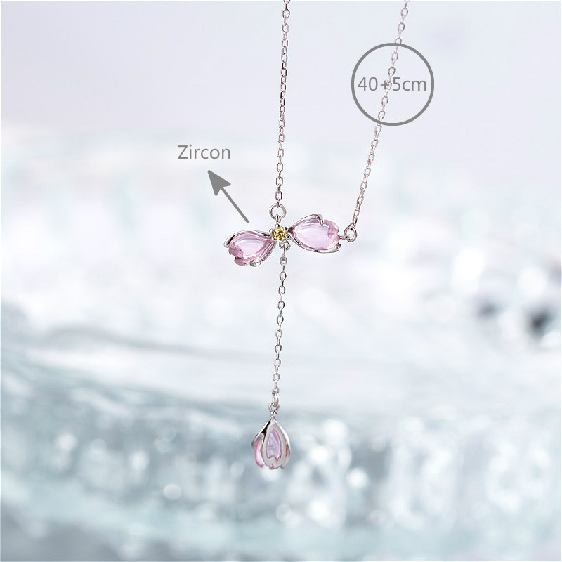 Flyleaf 925 Sterling Silver Necklace Women Pink Magnolia Cubic Zirconia Femme Fashion Fine Jewelry Party Necklaces Pendants in Necklaces from Jewelry Accessories