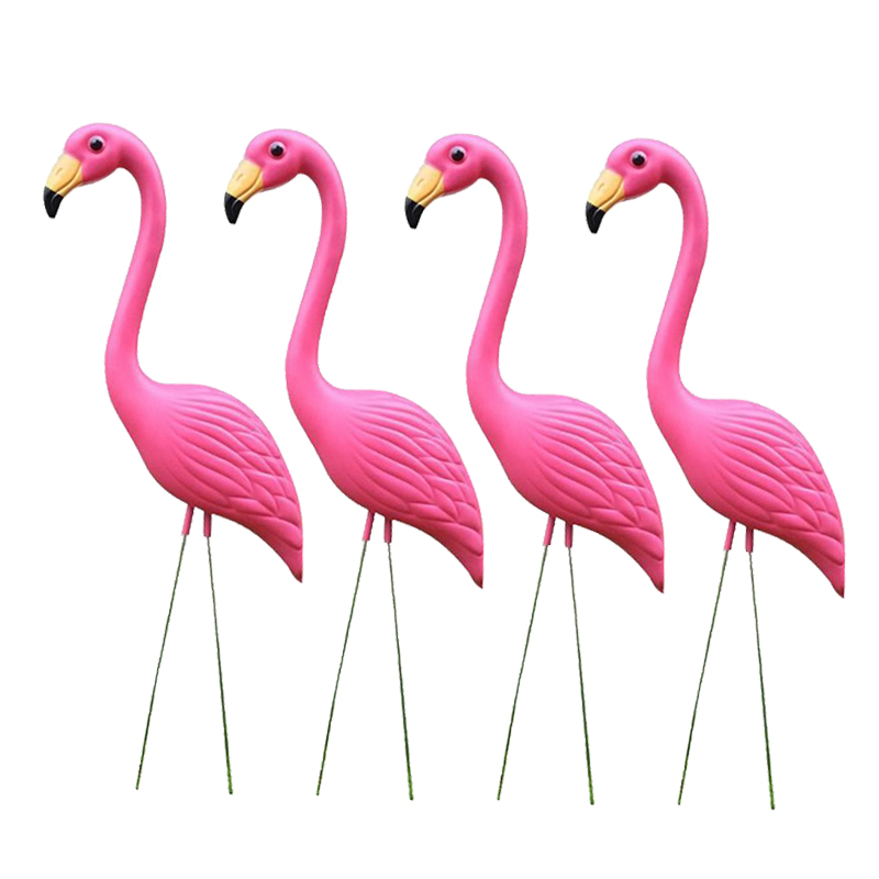 4PCS Vivid Pink Flamingo Lawn Ornament Plastic Garden Animals Model Figurine for Home Party Wedding Decor Yard Display