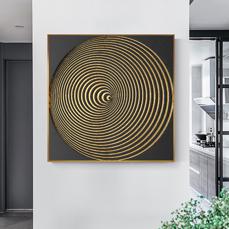Abstract Black And Gold Burst Round Canvas Painting Fashion Poster Print Simplicity Wall Art For Living Room Studio Aisle Decor