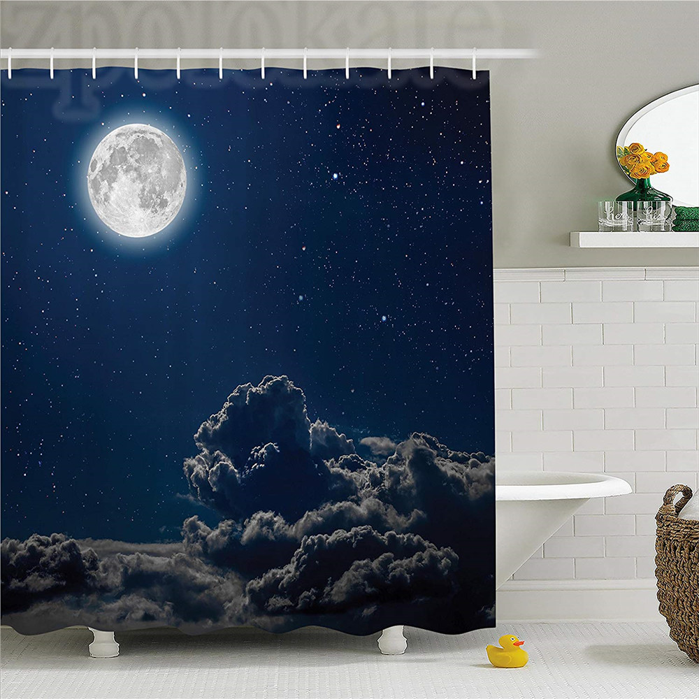 Galaxy Shower Curtain Set Moon And