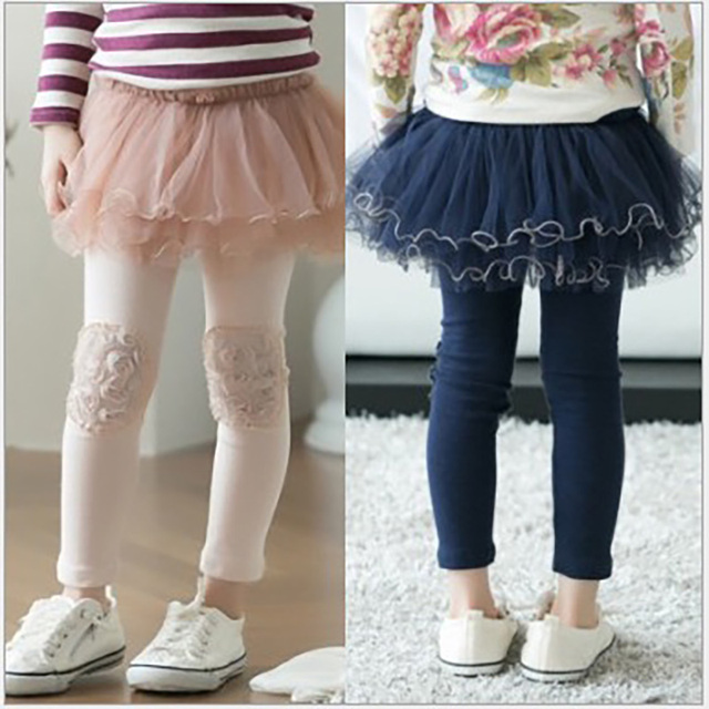 7b41850c3 € 13.12 9% de DESCUENTO|Leggings para niñas florales 2017 otoño. Falda azul  marino legging ropa para niños en Pantalones de Madre y niños en ...