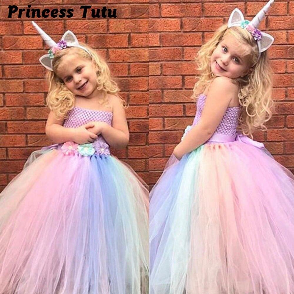 Baby Girl Summer Wedding Dress Elegant Pink Mint Flowers Girls Birthday Party Dresses Children Kids Pony Unicorn Tutu Costume