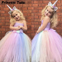 Baby Girl Summer Wedding Tutu Dress Elegant Pink Mint Flowers Girls Birthday Party Dresses Children Pony