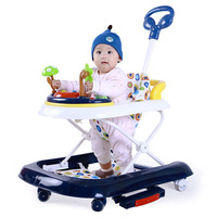 Baby Walker with Wheels Child Walking Assistant Anti Rollover Multi function Hand Push Walker Car Folding Music Rocking Hose